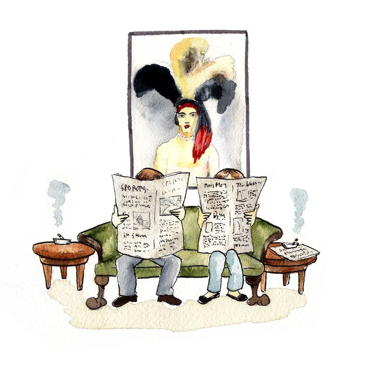Illustration of two people reading newspapers sitting on a coach with cigarettes