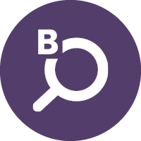 "Bloomberg Connects icon of a magnifying glass and the letter ""B"""