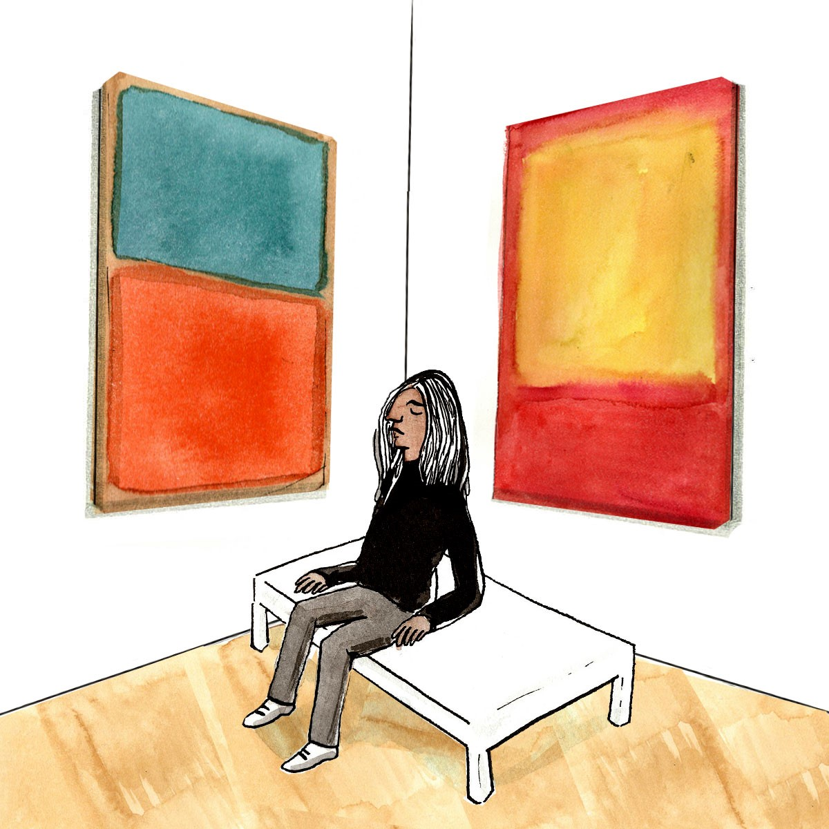 A woman sitting on a bench in between two paintings of colors