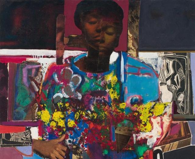 Woman with Flowers painting by David Driskell