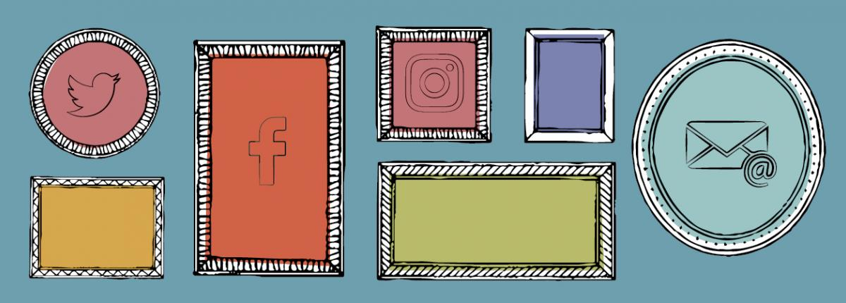 Illustration of seven colorful frames