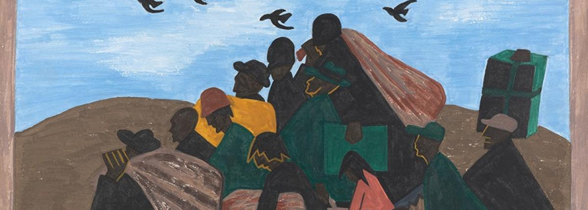 painting of people traveling outside with their belongings, mimicking the triangular shape of a bird migration