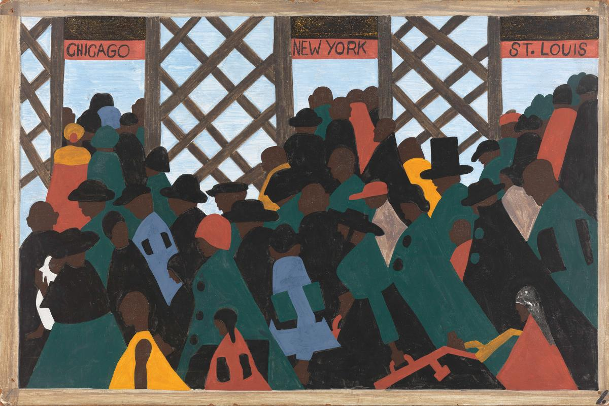 A painting of a large crowd of people at a train station heading to Chicago, New York, and St. Louis