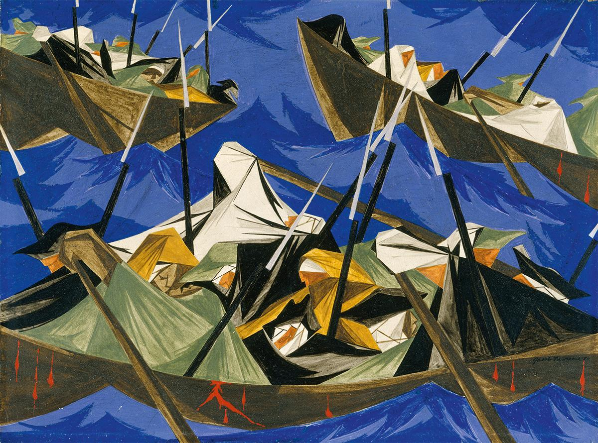 Abstract painting of three boats on blue water, filled with figures holding spears