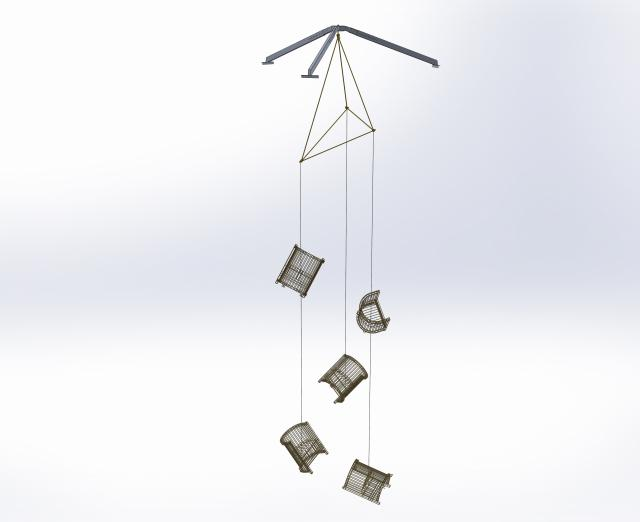Rendering of installation by Marley Dawson of hanging gold chairs