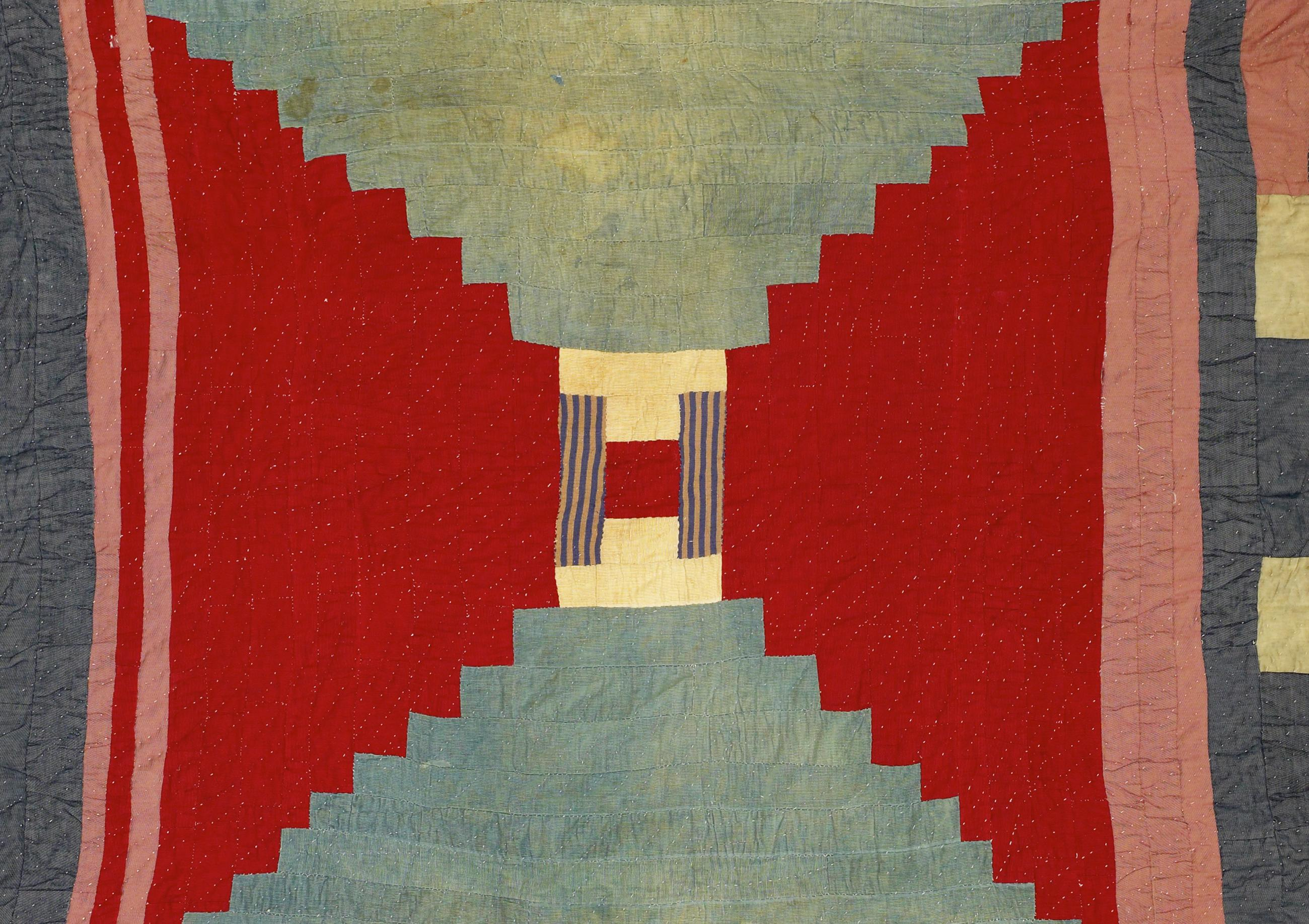 Quilt with red, white, and blue by Lucy Pettway
