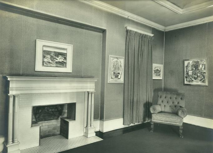 House gallery, second floor, with works by John Marin, c. 1955