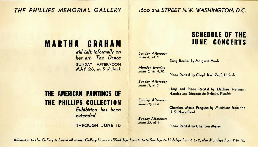 Announcement of a lecture by Martha Graham, March 15, 1944