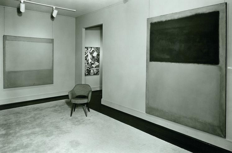 The Rothko Room, 1960–63, in the original Annex with a work by Jackson Pollock in the adjoining gallery