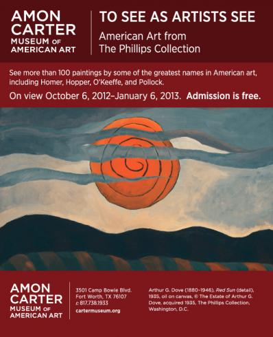 Poster for the exhibition To See as Artists See at the Amon Carter Museum featuring a painting with a Red Sun