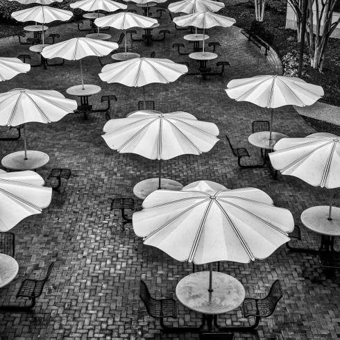 Photograph of empty tables and chairs