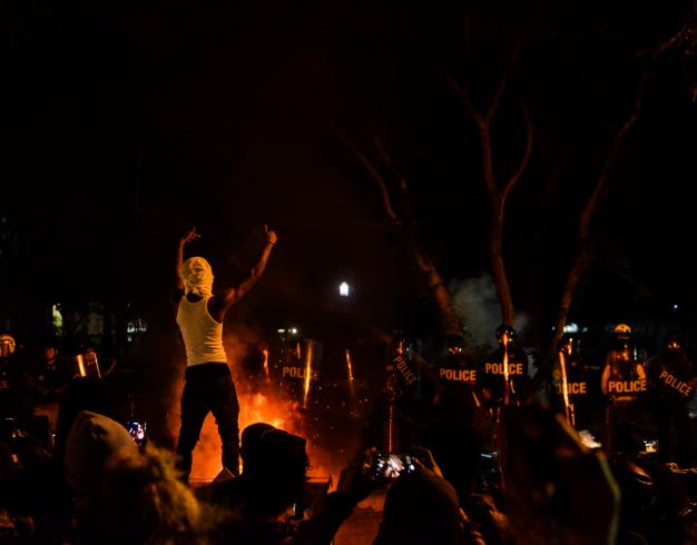 Photograph of a protest at night