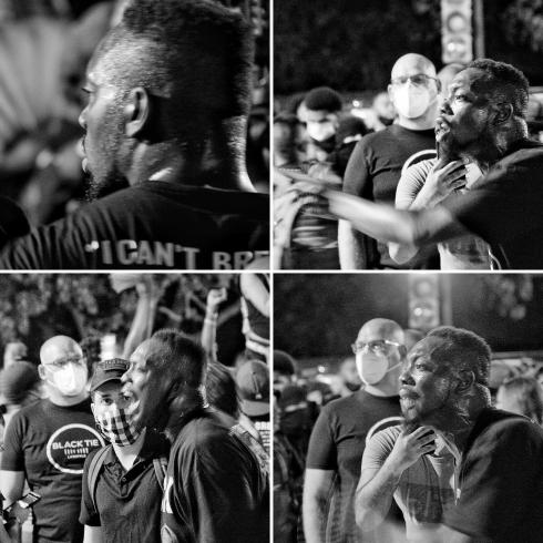 Collage of photographs of a man at a protest