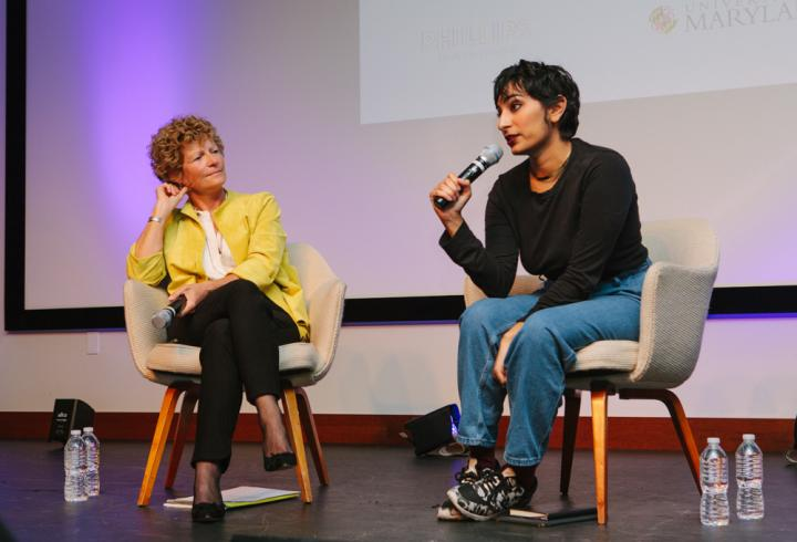 Fatimah Asghar and Susan Dwyer on stage at the 2017 International Forum