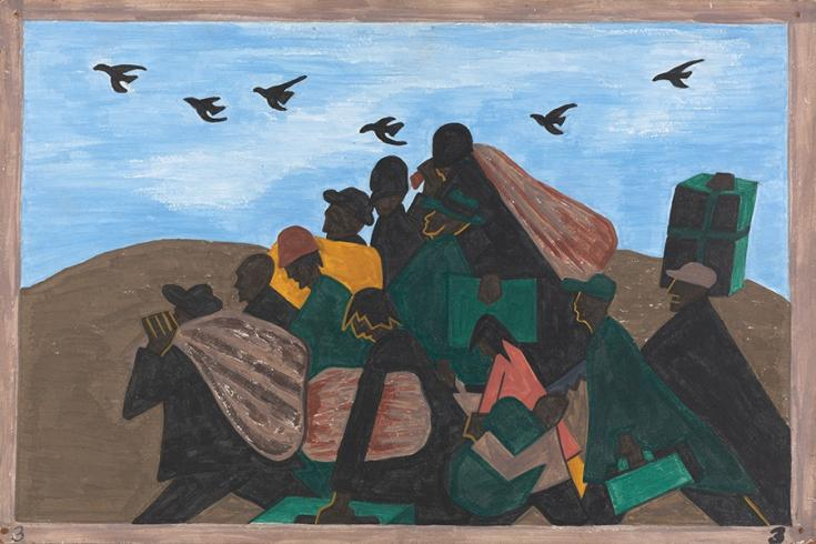 Painted panel from Jacob Lawrence's Migration Series that depicts about 13 migrants in a triangular formation. Above them are migrating birds in a V-shape