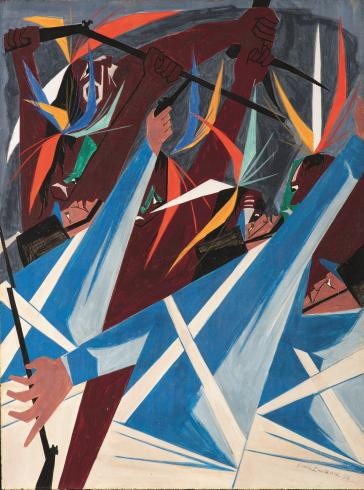 An abstract painting of white military figures in battle with Native Americans