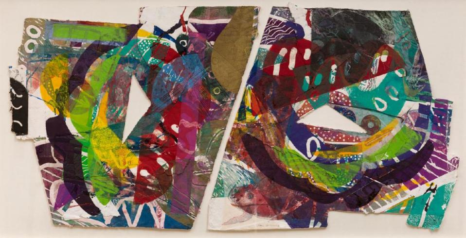A collage of bright, colorful papers in a variety of shapes by Sam Gilliam
