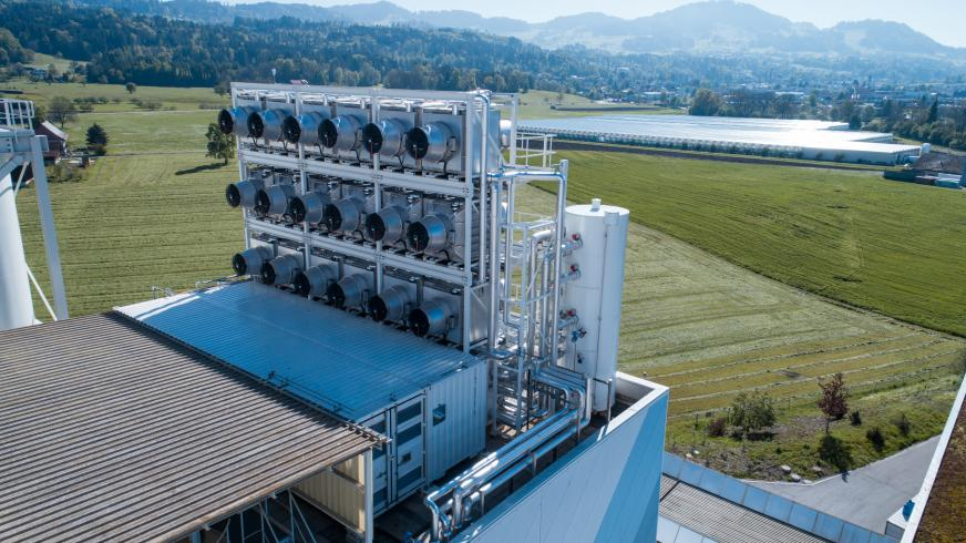 Aerial view of Climeworks' carbon capture plant in Hinwil, Switzerland, supported by Helena