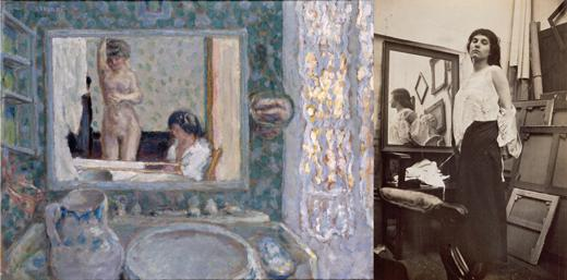 left: The Mirror in the Green Room (1908), right: Model taking off her blouse in Bonnard's Paris studio (c. 1916)