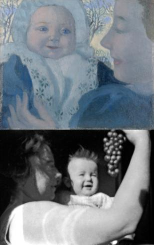 top: Noele and Her Mother (1896), bottom: Marthe offering Bernadette a bunch of grapes (1890)