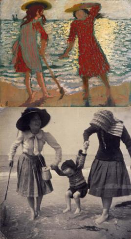 top: On the Beach (Two Girls against the Light) (1892), bottom: Two girls, paddling in the sea, swinging little Madeleine, Perros-Guirec (1909)