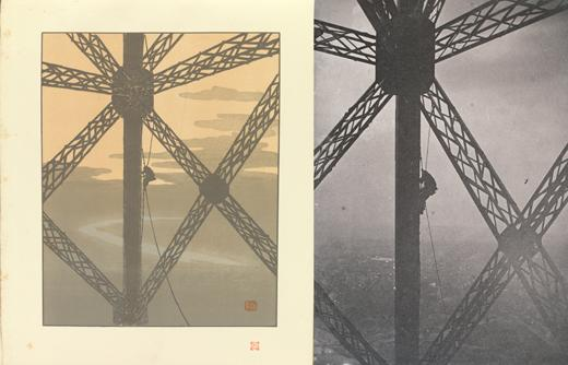 left: Plate 36, The Painter in the Tower, from Thirty-Six Views of the Eiffel Tower (1888–1902), right: Painter on a knotted rope along a vertical girder, below an intersection of girders (1889)