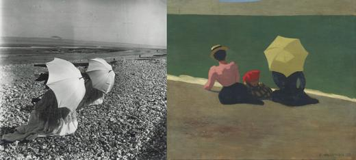 left: The two sunshades (1902), right: On the Beach (1899)