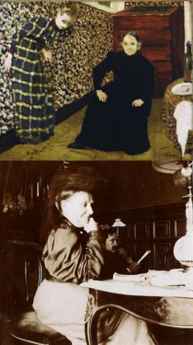 top: Interior, Mother and Sister of the Artist (1893), bottom: Madame Vuillard and Romain Coolus (c. 1905)