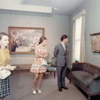 Photograph of Prince Charles and Princess Anne in the Phillips galleries